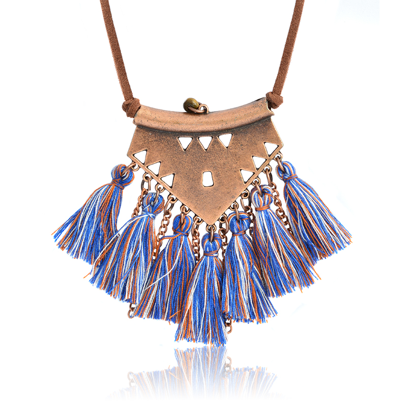 Vintage Totem Bohemia Wool tassels Pendant Necklace Ethnic Brown Leather rope Long Necklace For Women Fashion Boho Jewelry Gift