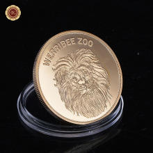 WR 24K Gold Plated Collectible Lion Souvenir Coins 2016 New Year Gifts Military Antique Coin