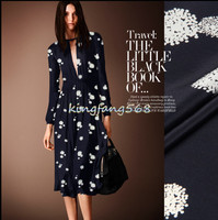 Designer 100 Natural Mulberry Silk Crepe De Chine Clothing Fabric Black White Round Cheongsam Dresses 1m