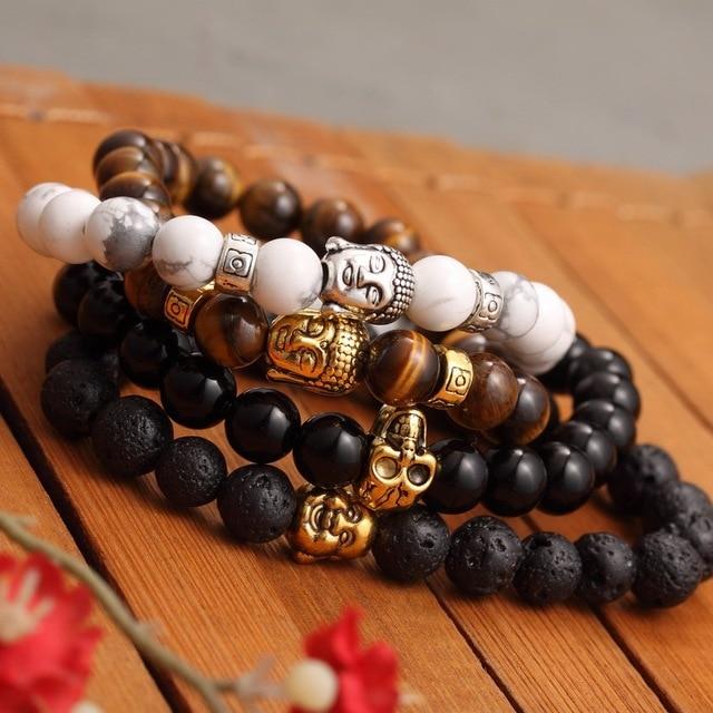Kittenup Fashion Men's Bracelet Gold Color Silver Color Buddha skull Elastic Black  Beaded Tibet Charm Lucky bracelets for women