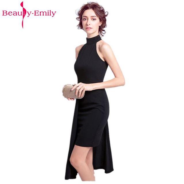 25774e91f2d Красота-Эмили черный мини-коктейльные платья 2017 сексуальные высокие Новые  Дизайнерские Вечерние платья Короткие
