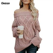 Women Loose Sweater Casual Long Sleeve Knitted Femme Genuo Autumn Winter Thick Line Off Shoulder Sexy Pullovers Top