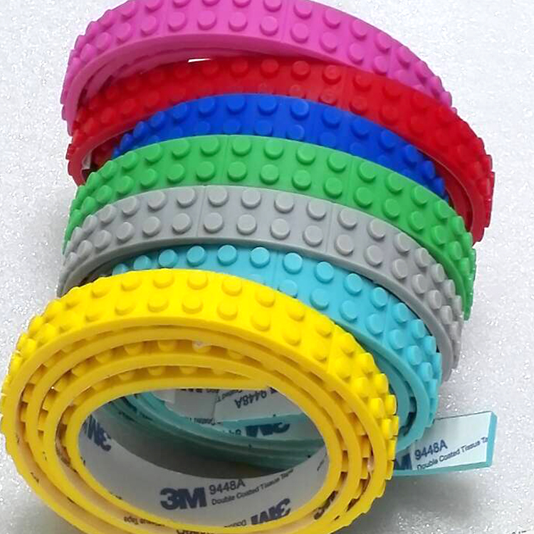 1M 2 studs Small Loops silicone Tape Blocks Base Plate Building Block DIY Baseplate Compatible with Legos sexy toy