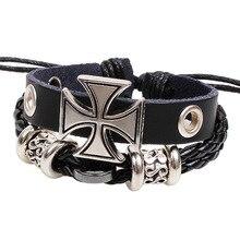 Leather bracelet fashion jewelry Retro charm bracelet female lovers Roman cross bracelet Love bracelets for women