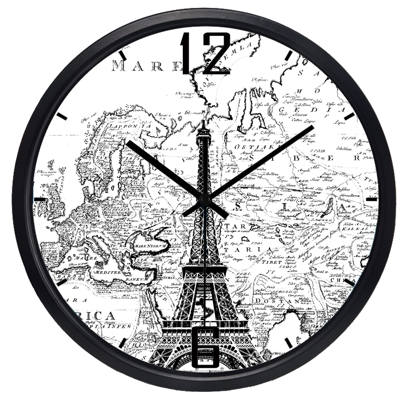 Vintage Nostalgic European Digital Wall Clock Art Round