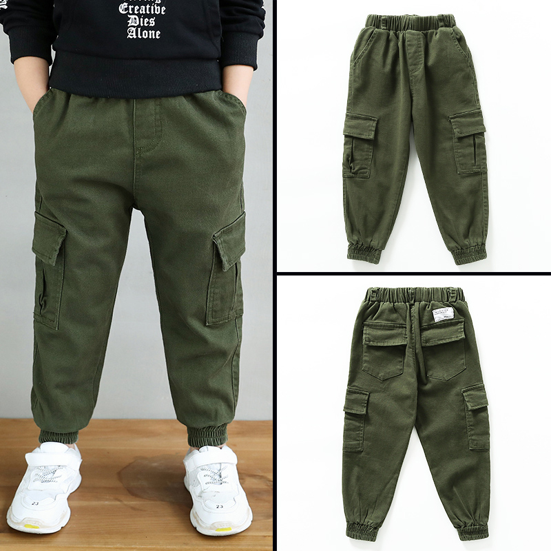Image 5 - New 2019 Autumn Teens Jeans For Boy  green Baby Boys Jeans Pants Designer Kids Jean Children's Elastic Waist Denim Long Pant-in Pants from Mother & Kids