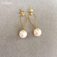 CMAJOR Classic Simple Style Gold Filled Wire Pearl Dangle Earrings For Women Pearl Jewelry Bijoux Best