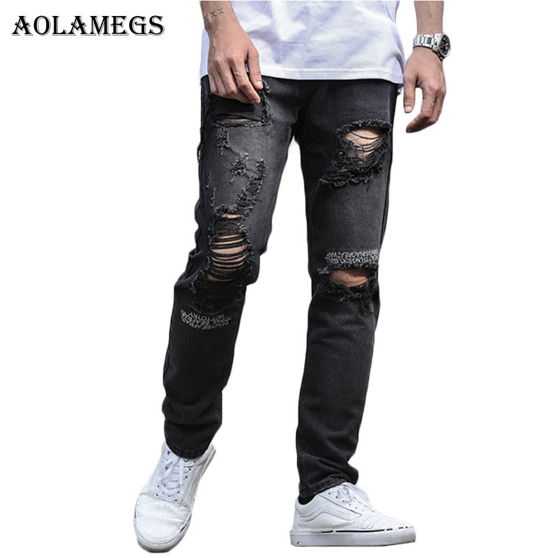 Aolamegs Biker Ripped Jeans For Men Elastic Letter Holes Denim Pants Mens Skinny Jeans Brand Cotton Trousers Bottoms Fashion thin stretch jeans ripped denim trousers slim skinny black jeans men new famous brand biker jeans elastic mens jeans l702