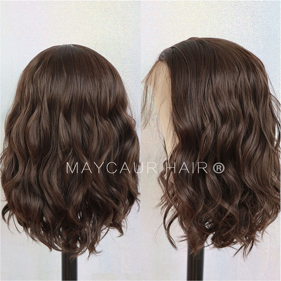 Maycaur #8 Brown Short Bob Hair Synthetic Lace Front Wig Short Wavy Wigs with Natural Baby Hair For Women Glueless (3)
