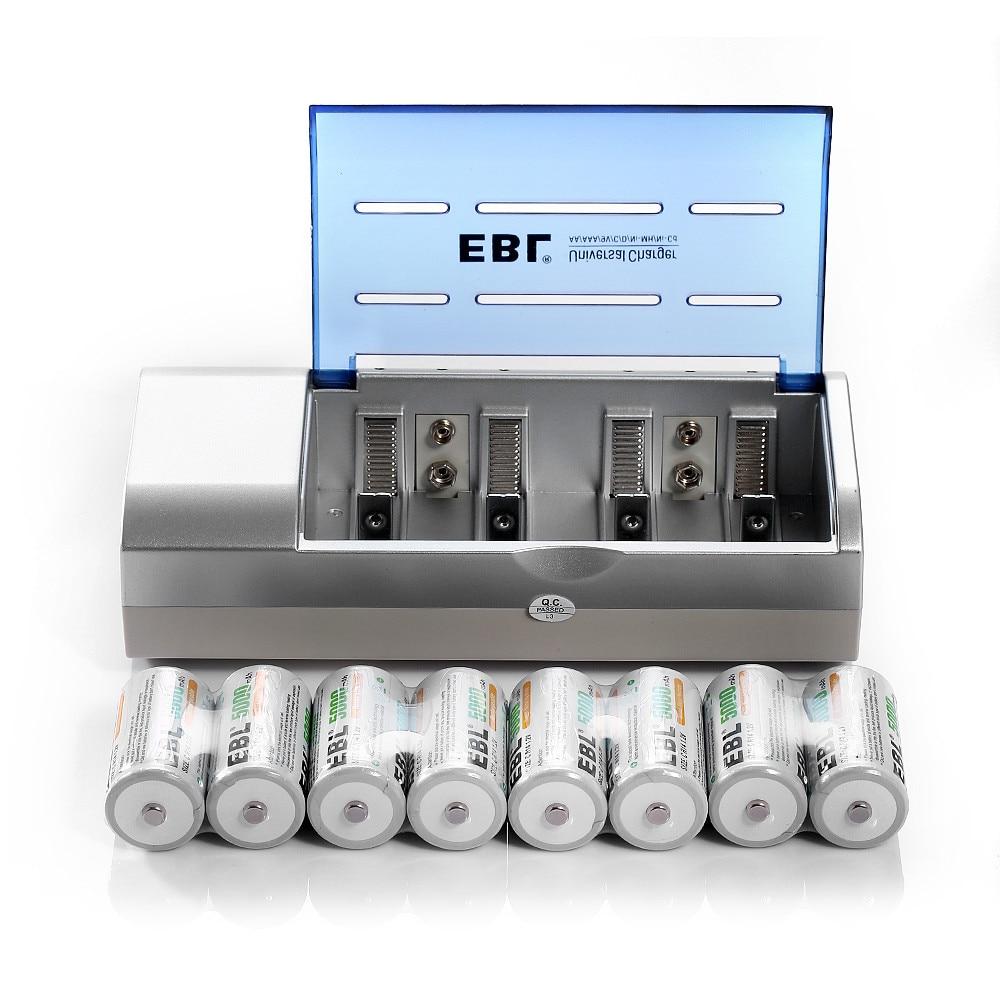 8 шт./лот ЭВН 5000 мАч 1.2 В C Размер Аккумуляторная Батарея + AA AAA, C, D Размер 9 В <font><b>6F22</b></font> Ni-Mh Замена Ni-CD Батареи зарядное устройство