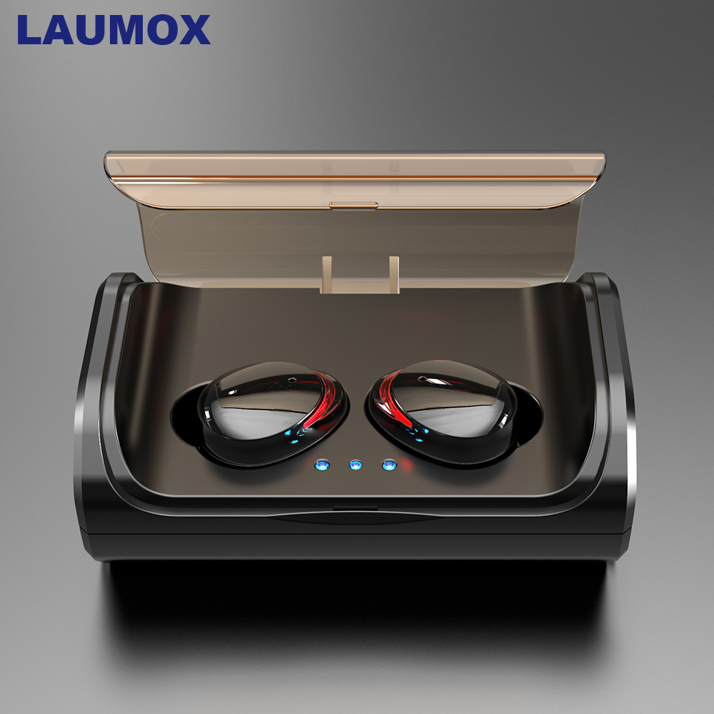 LAUMOX <font><b>TWS</b></font> <font><b>T8</b></font> Bluetooth Earphones 5.0 Wireless In-Ear Earbuds Deep Bass Stereo IPX7 Waterproof Sports Headset with Charging Box image
