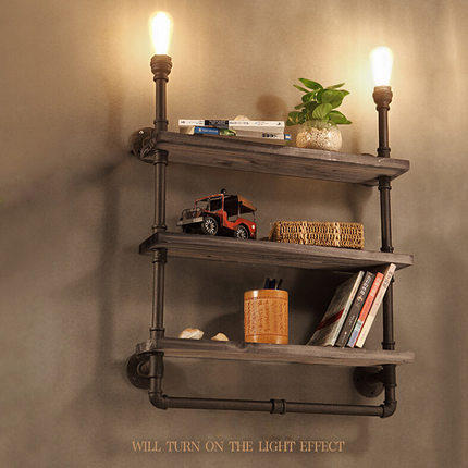 Retro potkrovlje polica drva od kovanog željeza zidne svjetiljke - Unutarnja rasvjeta