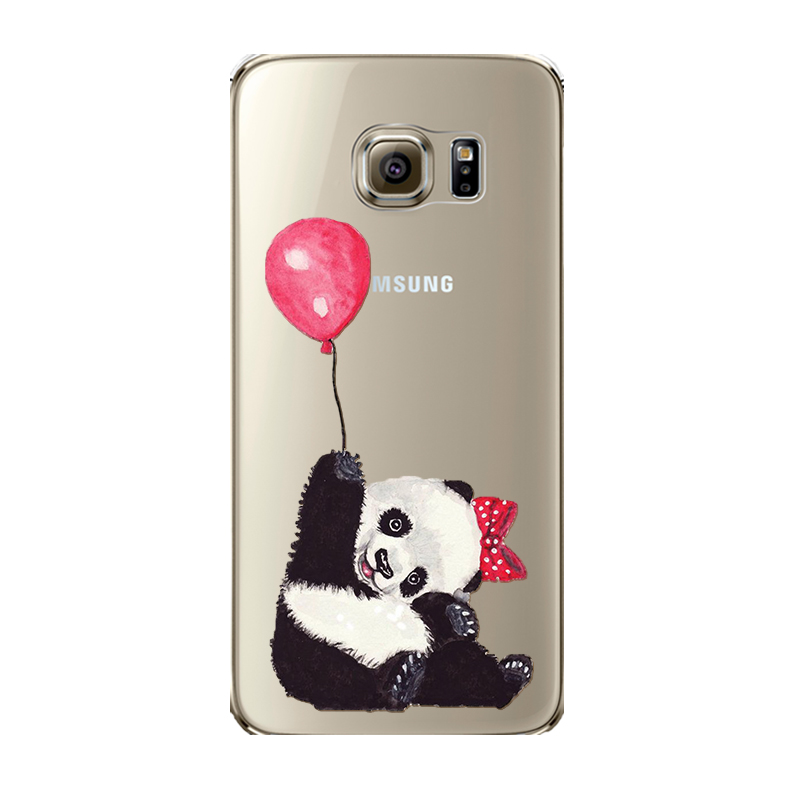 big sale 26a1e 63976 US $2.46 |Funny Panda Case for Samsung Galaxy S6 S7 soft transparent  Animals Cat Dog funda coque skin back shell-in Fitted Cases from Cellphones  & ...