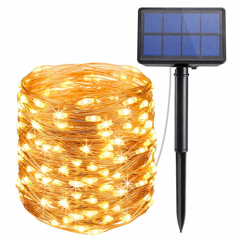 2 Pack LED Outdoor Solar Lamps 10m/20m LED String Lights Fairy Holiday Christmas Party Garlands Solar Garden Waterproof Lights