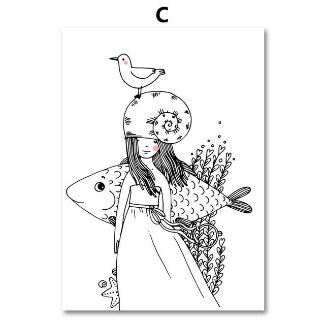 Colorfulboy Renard Poisson Fille Mur Art Imprimer Noir Blanc