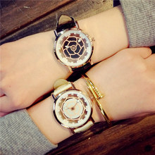 Luxurious Fashionable Rose Gold Hole Flower Dial Leather-based Spherical Dial Quartz Watch Wristwatches Present for Ladies Girls Ladies