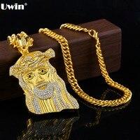 1 pz cristallo Gesù potrait pendent della collana della lega oro/argento ritorto catena religione uomini dichiarazione dei monili di hip hop moda