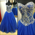Cristales azul real prom dresses a line novia con cuentas plus tamaño Lace Up Volver Formal Partido Vestidos de Imágenes Reales Vestidos de