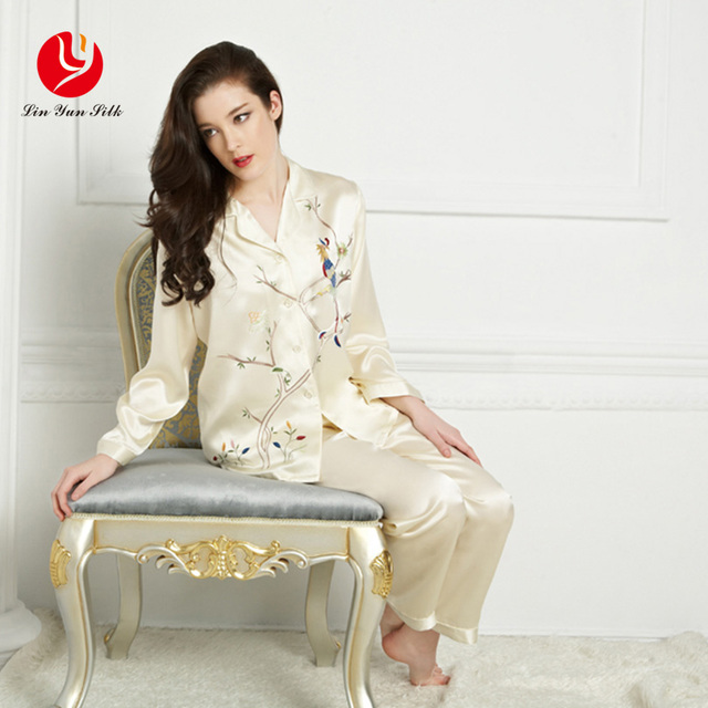 LIN YUN Real Silk Pajama Sets Summer Women Nightgowns Full Top & Bottom Button Animal Sleepwear Female Silk Pajama Lady Homewear