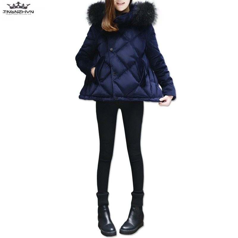 tnlnzhyn 2017 New Winter Women Coats Fashion Thick Fur Collar Hooded Down Cotton Jacket Women Fashion Warm Short Jacket Y767 lavensey original new children thick cotton turn down collar fashion coats for girl baby clothing free shipping
