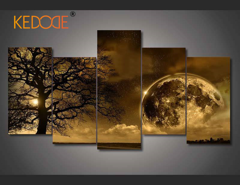 KEDODE 5pcs HD print celestial canvas painting wall art module picture home decor living room oil painting wall picture