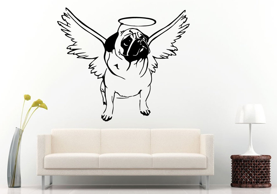 Hot Selling Cute Pug Dog Wall Decals Dog With Halo Go To Heaven Wall Mural Stickers Home Bedroom Funny Decor Art Design WM-020