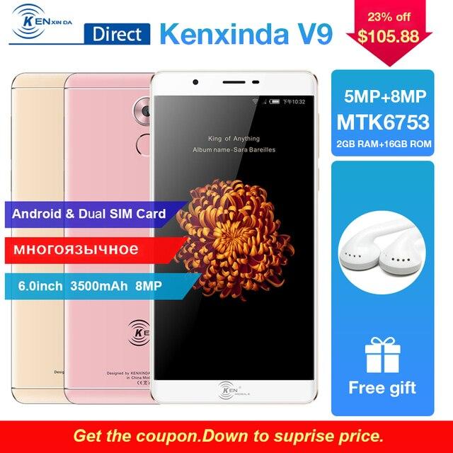 Original Kenxinda V9 4G 6.0inch Octa Core Fingerprint Mobile Cell Phone Android Dual SIM 3500mAh 16GB ROM SmartPhone Cellphone