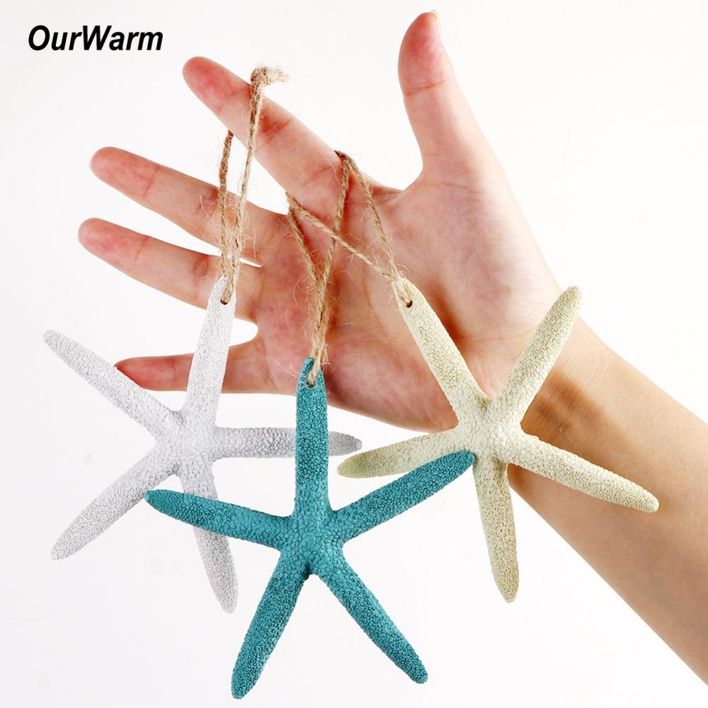 OurWarm 2pcs Finger Starfish Coastal Christmas Tree DIY Decoration Five Finger Beach Coastal Wedding Supplies