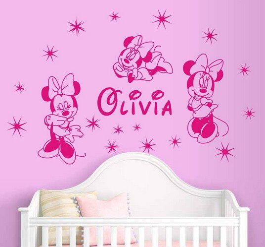Minnie Mouses wall stickers home decor custom name home decoration decorative stickers wall decals for girls room