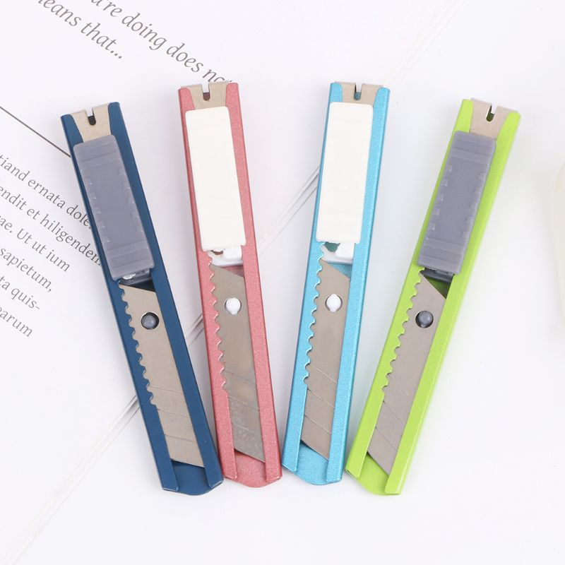 Stainless Steel Mini Utility Knife Cutter Razor Blade Tool Sharp Snap Off Knife Retractable