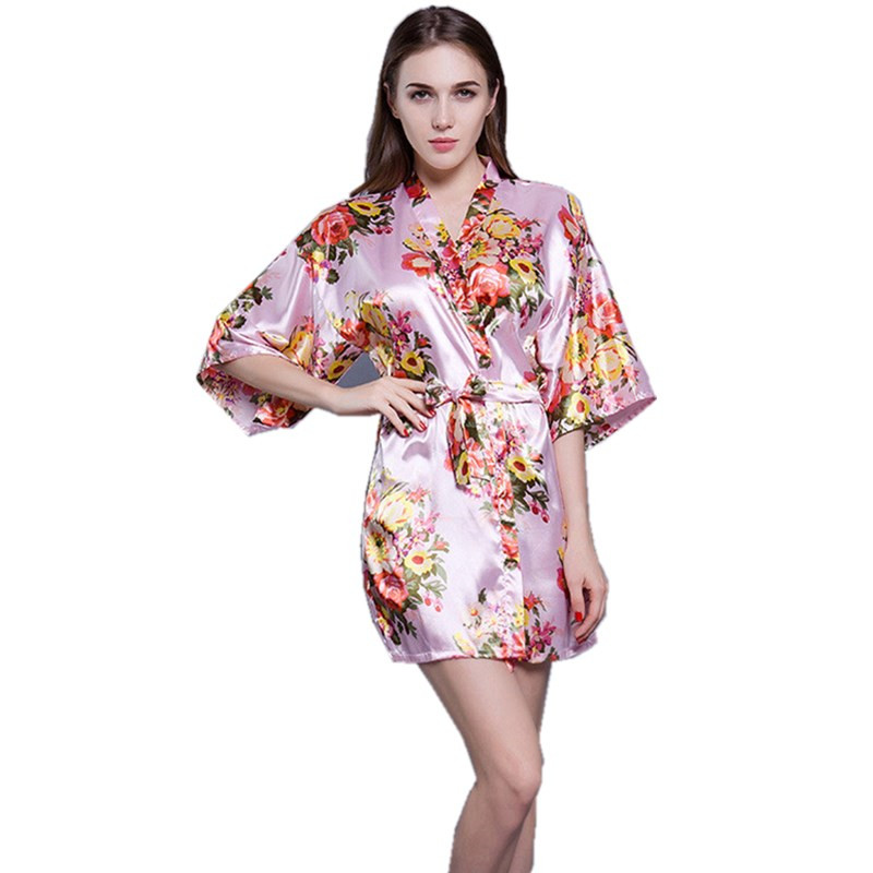 Fashion Women Floral Robe Silk Nightgown Wedding Bride Bridesmaid Robe Bathrobe Short Kimono Night Robe Bath Robe Dressing Gown