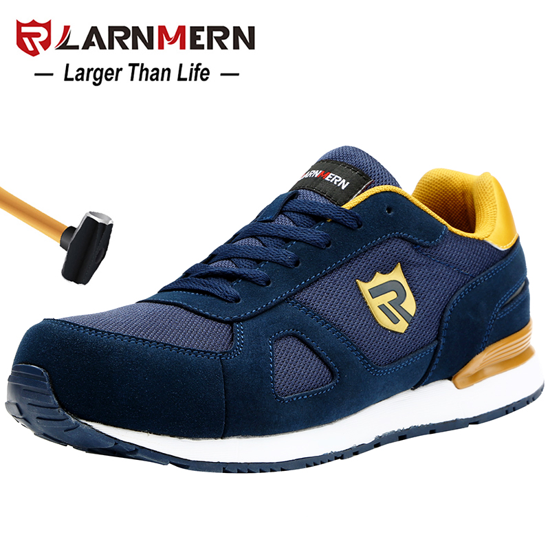 LARNMERN Men s Steel Toe Work Safety Shoes Lightweight Breathable Anti smashing Non slip Reflective Casual