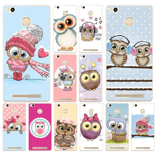 70DF Lucu Owl Hati Kekasih Natal Keras Transparan Cover Kasus untuk Xiaomi Redmi 3 S 3Pro 4a 5 ditambah Catatan 4 4x 5a 4pro Mi5 mi a1