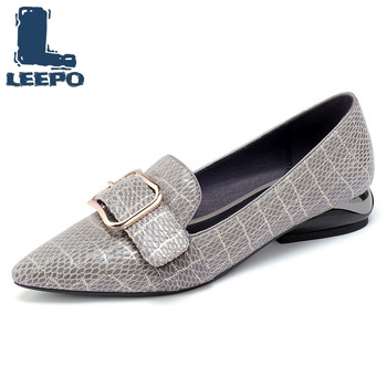 Loafers Women Low Heels Pumps Summer Spring Luxury Genuine Leather Square Heel Ladies Pumps Woman Pointed Toe Party Shoes