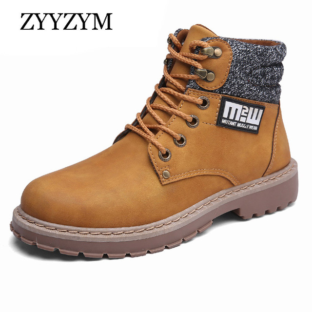 ZYYZYM Mens Boots Autumn Winter Motorcycle Boots For Men Fashion Outdoor Men Leather Boots 2018 Hot Sale
