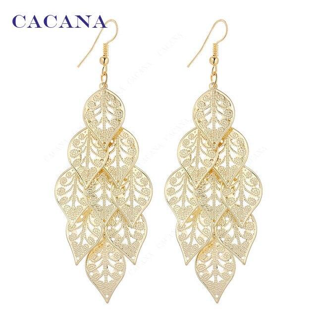 CACANA Dangle Long Earrings For Women Symmetry Pattern Leaves Bijouterie Hot Sal