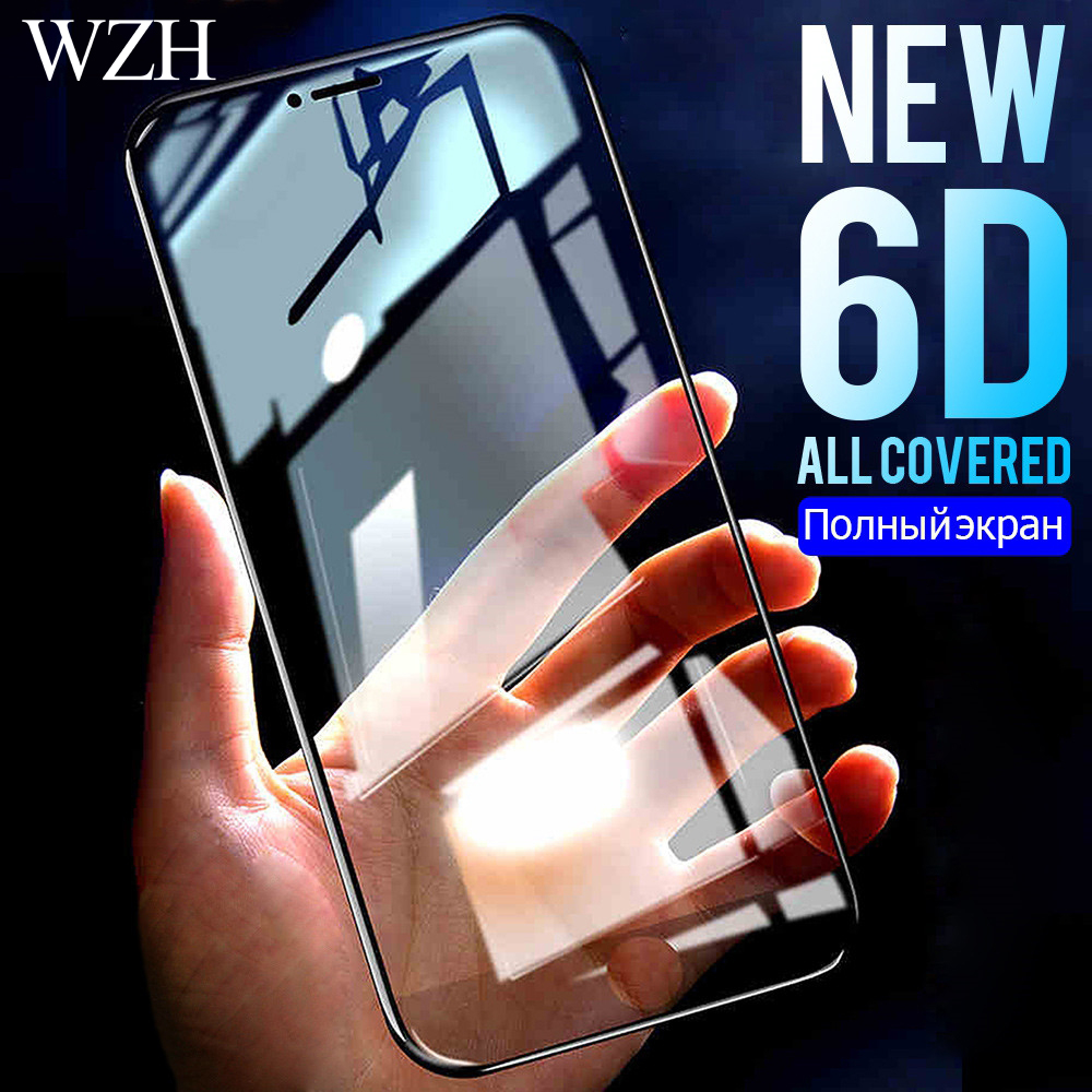 6D Tempered Glass For IPhone 6 6S 7 8 Plus Full Screen Protector Aluminum Alloy For IPhone X 8 5 SE 5S Protective Glass Film