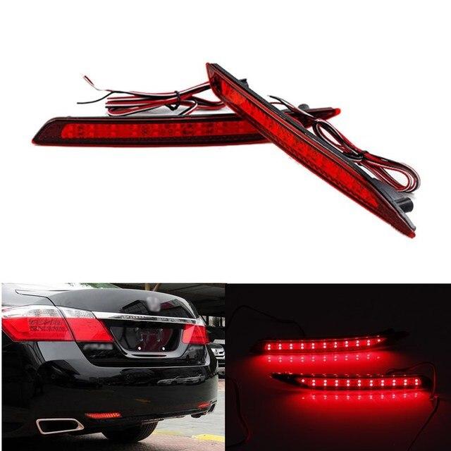 2 pcs LED Vermelho Traseiro Refletor de Luz de Nevoeiro Estacionamento Aviso luz de freio correndo invertendo lâmpada de cauda fit para honda accord nono