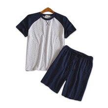 Mais tamanho 100% algodão shorts pijamas conjuntos homens verão manga curta pijamas para masculino coreano hombre pijama homme