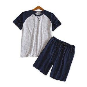 Image 1 - Più il formato 100% pantaloncini di cotone pigiama set degli uomini di Estate del manicotto del bicchierino degli indumenti da notte per il maschio Coreano pijama hombre pigiama homme