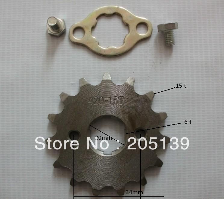 Dirt bike pitbike 15 tooth 20MM FRONT ENGINES sprocket FOR 420 CHAIN motorcycle moto pit bike ATV parts image