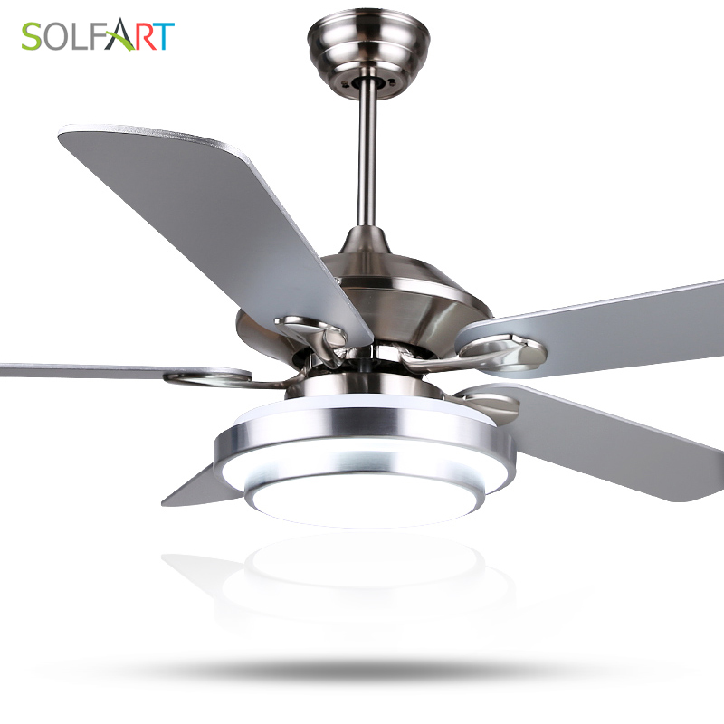 solfart ceiling fan modern led wood ceiling fans with lights silvery bronze 42inch 48inch 52inch decorative - Led Ceiling Fan