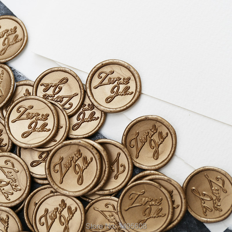 Custom Names Self Adhesive Wax Seal Stickers,Personalize Wedding Wax Stamp,envelope Seal,RSVP Seals,23 Color Available
