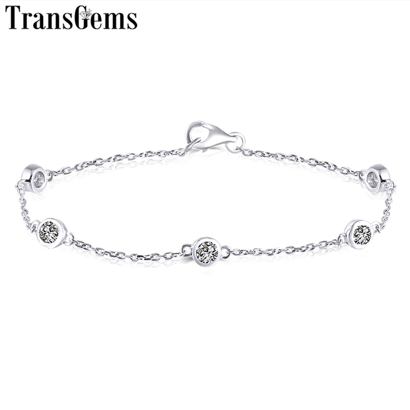 Trasgems 14K 585 White Gold 0.5CTW 3mm F Color VVS Moissanite Link Bracelets for Women Bezel Set Link Bracelets 17CM LengthTrasgems 14K 585 White Gold 0.5CTW 3mm F Color VVS Moissanite Link Bracelets for Women Bezel Set Link Bracelets 17CM Length
