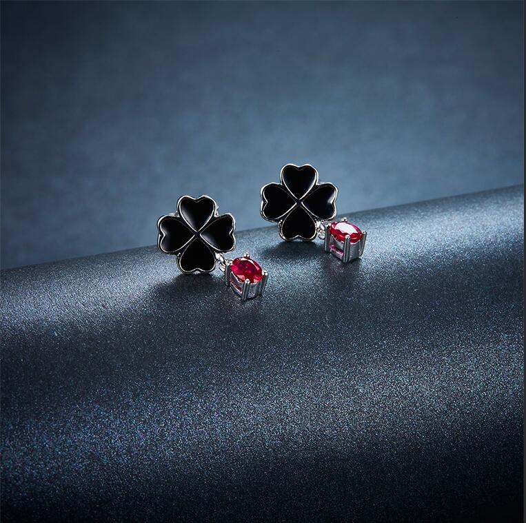 Hutang Four Leaf Clover Natural Ruby Earrings Solid 925 Sterling Silver Precious Gemstone Fine Jewelry for Women Gift pair of chic rhinestoned four leaf clover shape earrings for women