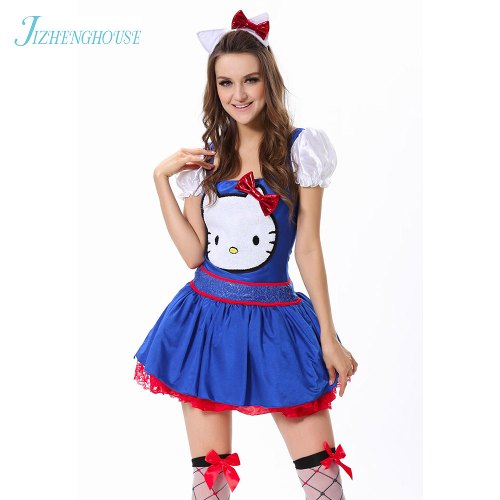 jizhenghouse adult red blue fancy dress sexy women cosplay maid costume halloween hello kitty costume - Halloween Hello Kitty Costume