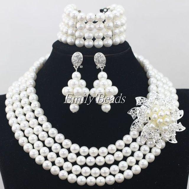 Romantic Wedding Jewerly sistema nupcial perlas de concha de perla de traje africana collar pulsera aretes envío gratis cortas FP068