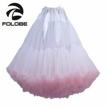 FOLOBE White Knee Length Tulle Skirt Vintage Tutu Skirts Womens Dance Party Prom Underskirt faldas de tull Mujer Saias Jupe