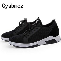 New Summer Casual Mesh sneakers Elevator shoes Breathable height incresing shoes With Getting 7CM Tall Male Outdoor Leisure Shoe