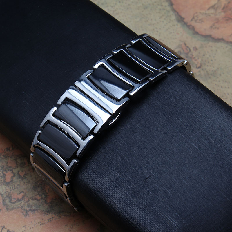 ФОТО Black Ceramic with silver stainless steel metal Watchbands 20mm 22mm bright beautiful watch band strap bracelets butterfly clasp
